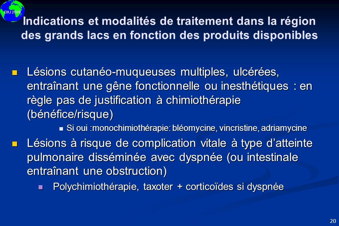 DIU 2009 20 Indications et modalités de traitement dans la région des grands lacs en fonction des produits disponibles Lésions cutanéo-muqueuses multi