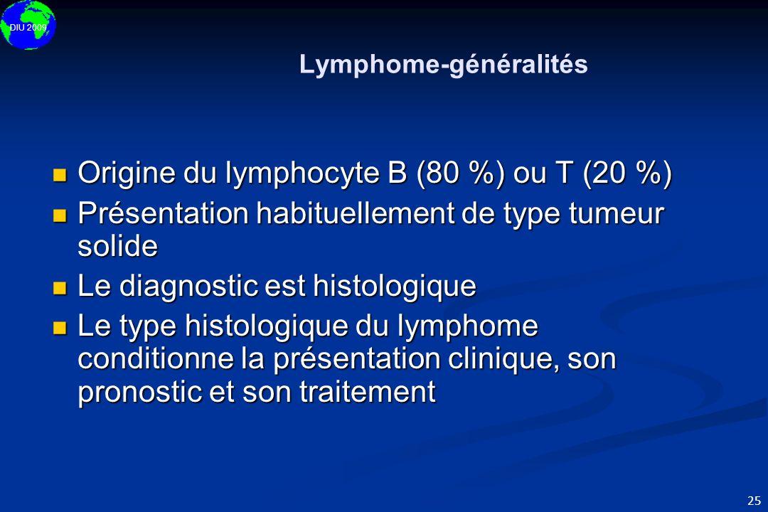 DIU 2009 25 Lymphome-généralités Origine du lymphocyte B (80 %) ou T (20 %) Origine du lymphocyte B (80 %) ou T (20 %) Présentation habituellement de