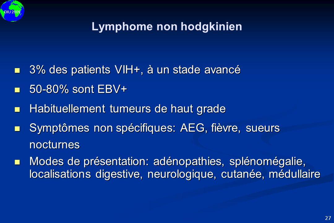 DIU 2009 27 Lymphome non hodgkinien 3% des patients VIH+, à un stade avancé 3% des patients VIH+, à un stade avancé 50-80% sont EBV+ 50-80% sont EBV+