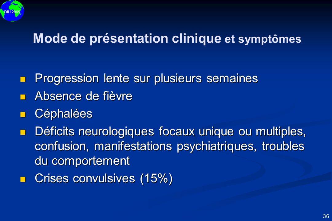 DIU 2009 36 Mode de présentation clinique et symptômes Progression lente sur plusieurs semaines Progression lente sur plusieurs semaines Absence de fi