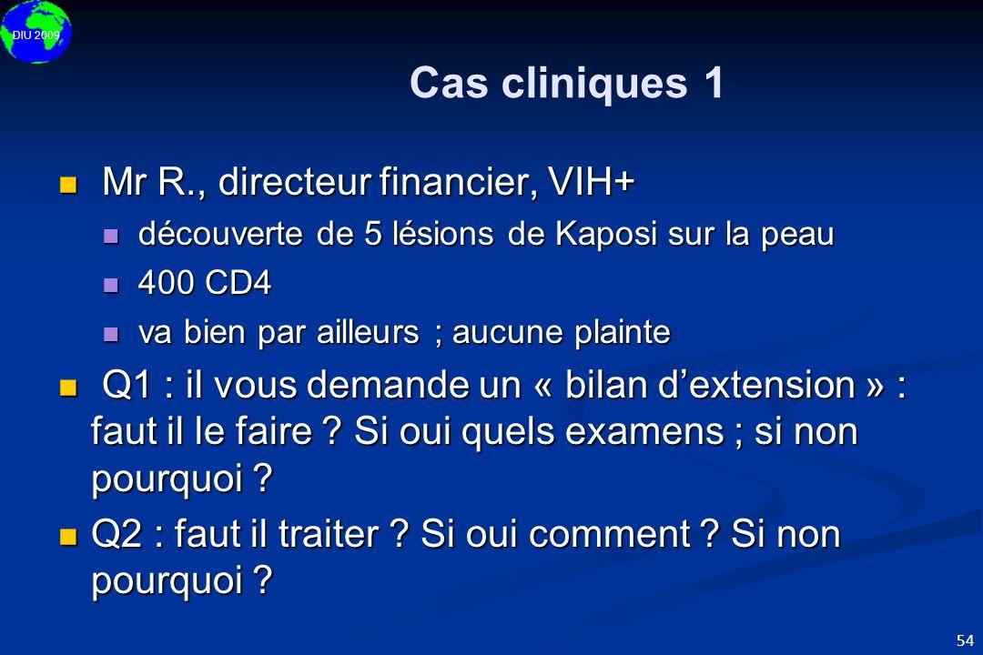 DIU 2009 54 Cas cliniques 1 Mr R., directeur financier, VIH+ Mr R., directeur financier, VIH+ découverte de 5 lésions de Kaposi sur la peau découverte
