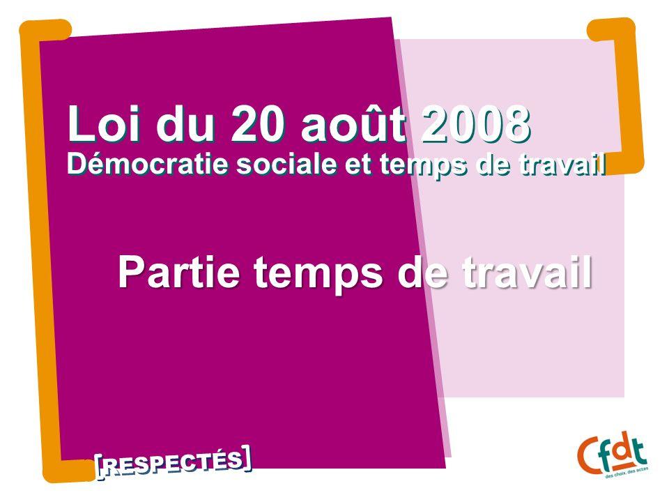 RESPECTÉS Loi du 20 août 2008 Démocratie sociale et temps de travail Partie temps de travail