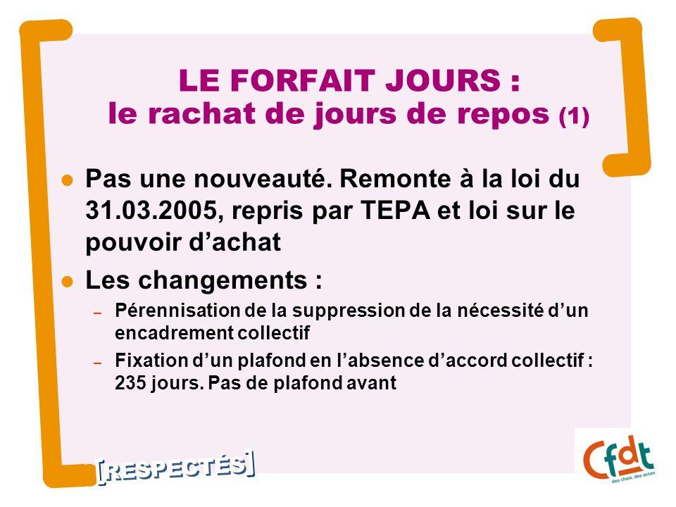 RESPECTÉS 10 LE FORFAIT JOURS : le rachat de jours de repos (1) Pas une nouveauté. Remonte à la loi du 31.03.2005, repris par TEPA et loi sur le pouvo
