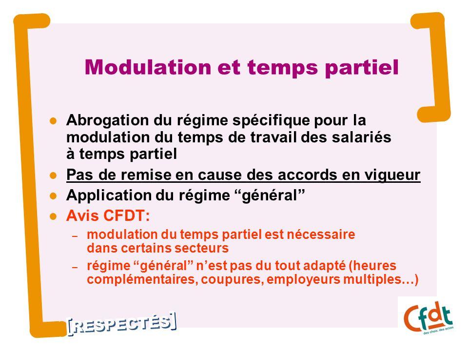RESPECTÉS 17 Modulation et temps partiel Abrogation du régime spécifique pour la modulation du temps de travail des salariés à temps partiel Pas de re