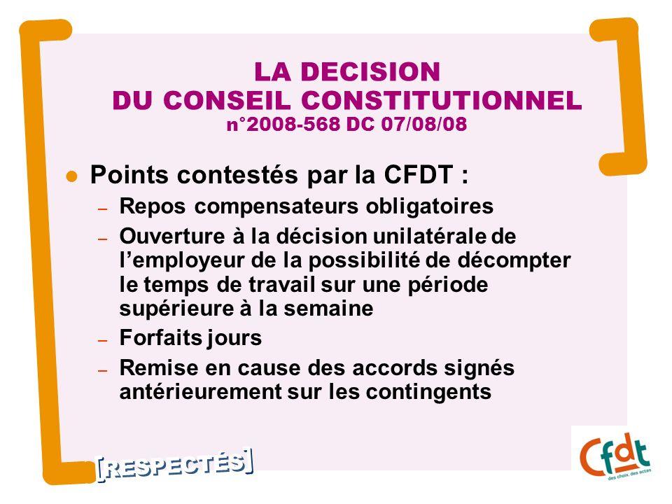 RESPECTÉS 19 LA DECISION DU CONSEIL CONSTITUTIONNEL n°2008-568 DC 07/08/08 Points contestés par la CFDT : – Repos compensateurs obligatoires – Ouvertu