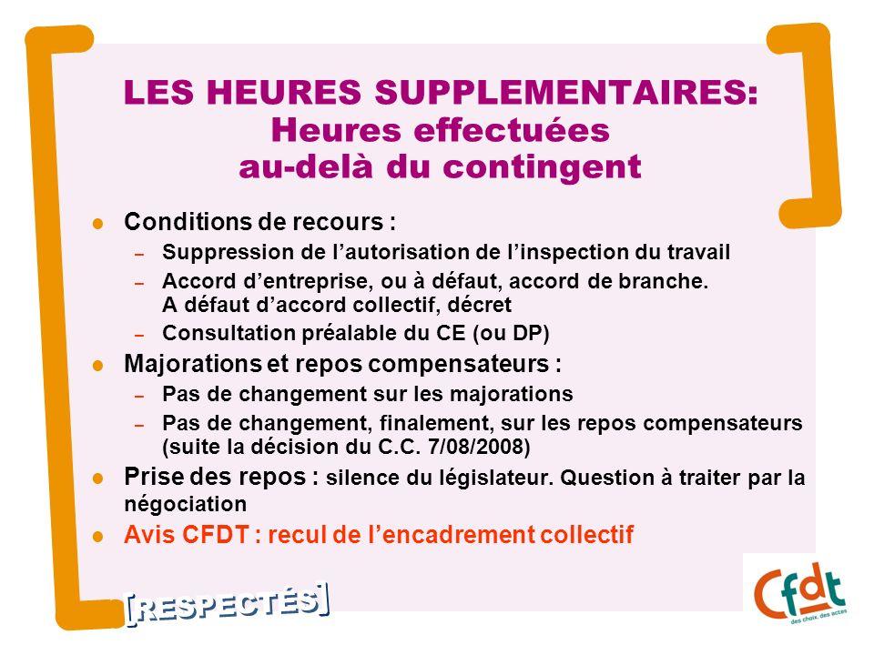 RESPECTÉS 4 LES HEURES SUPPLEMENTAIRES: Heures effectuées au-delà du contingent Conditions de recours : – Suppression de lautorisation de linspection