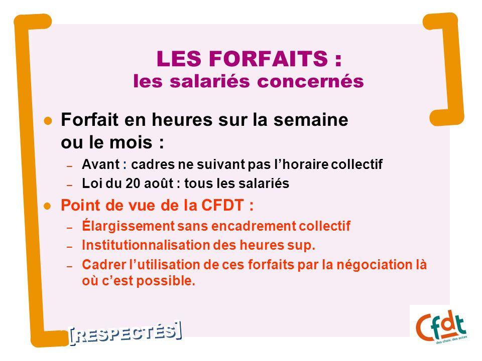 RESPECTÉS 6 LES FORFAITS : les salariés concernés Forfait en heures sur la semaine ou le mois : – Avant : cadres ne suivant pas lhoraire collectif – L
