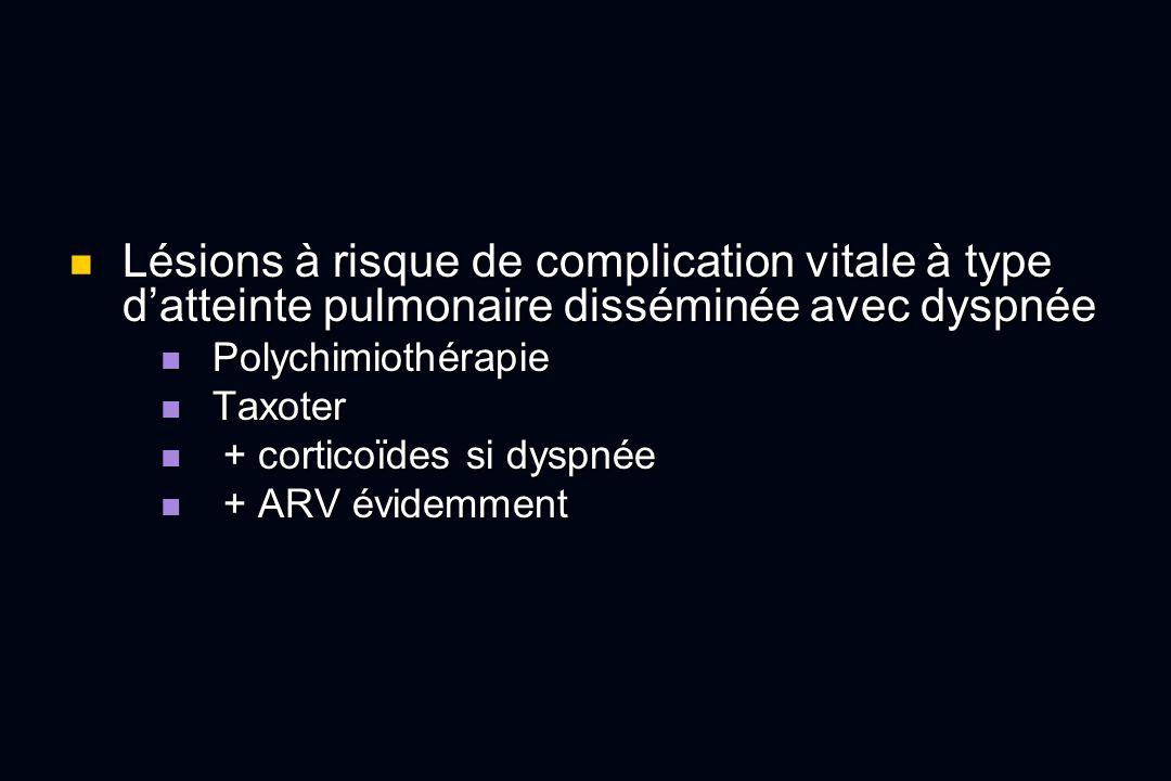 Lésions à risque de complication vitale à type datteinte pulmonaire disséminée avec dyspnée Lésions à risque de complication vitale à type datteinte p