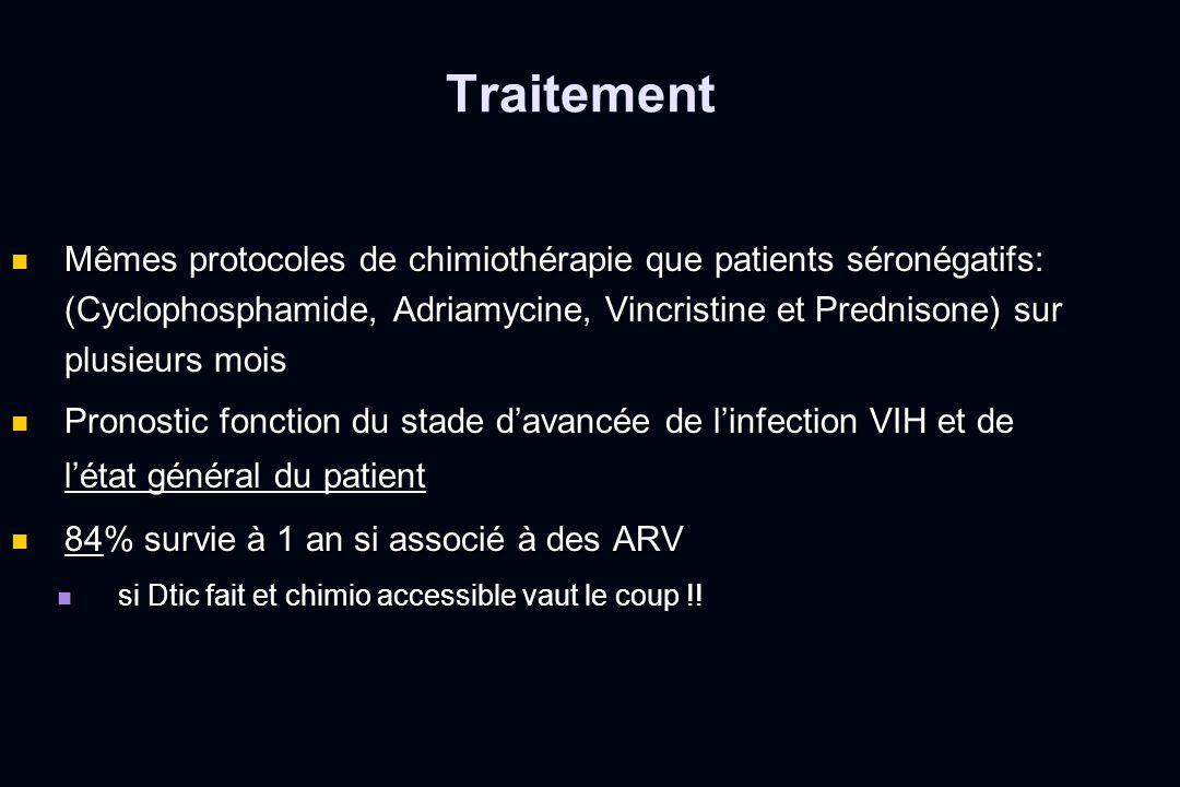 Mêmes protocoles de chimiothérapie que patients séronégatifs: (Cyclophosphamide, Adriamycine, Vincristine et Prednisone) sur plusieurs mois Mêmes prot