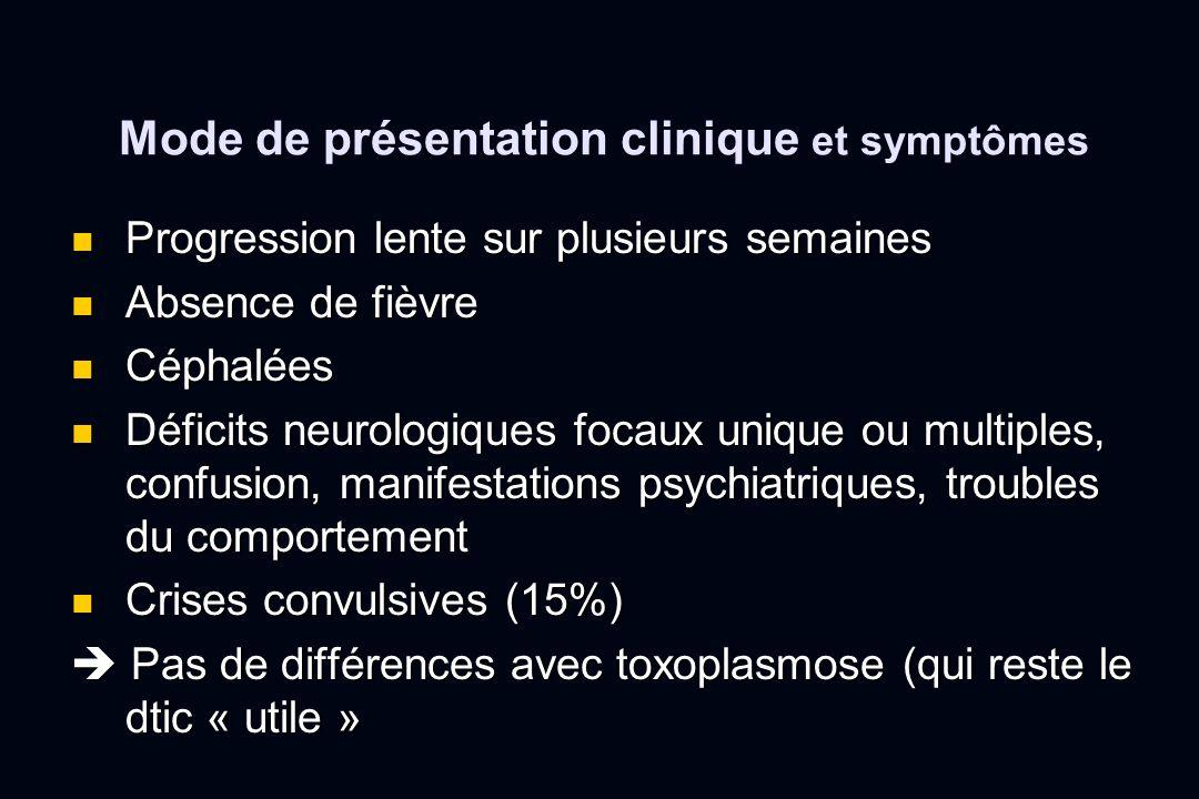 Mode de présentation clinique et symptômes Progression lente sur plusieurs semaines Progression lente sur plusieurs semaines Absence de fièvre Absence