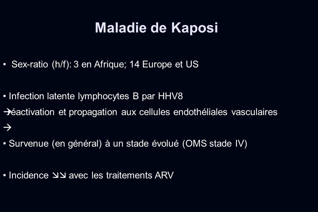 Sex-ratio (h/f): 3 en Afrique; 14 Europe et US Infection latente lymphocytes B par HHV8 réactivation et propagation aux cellules endothéliales vascula