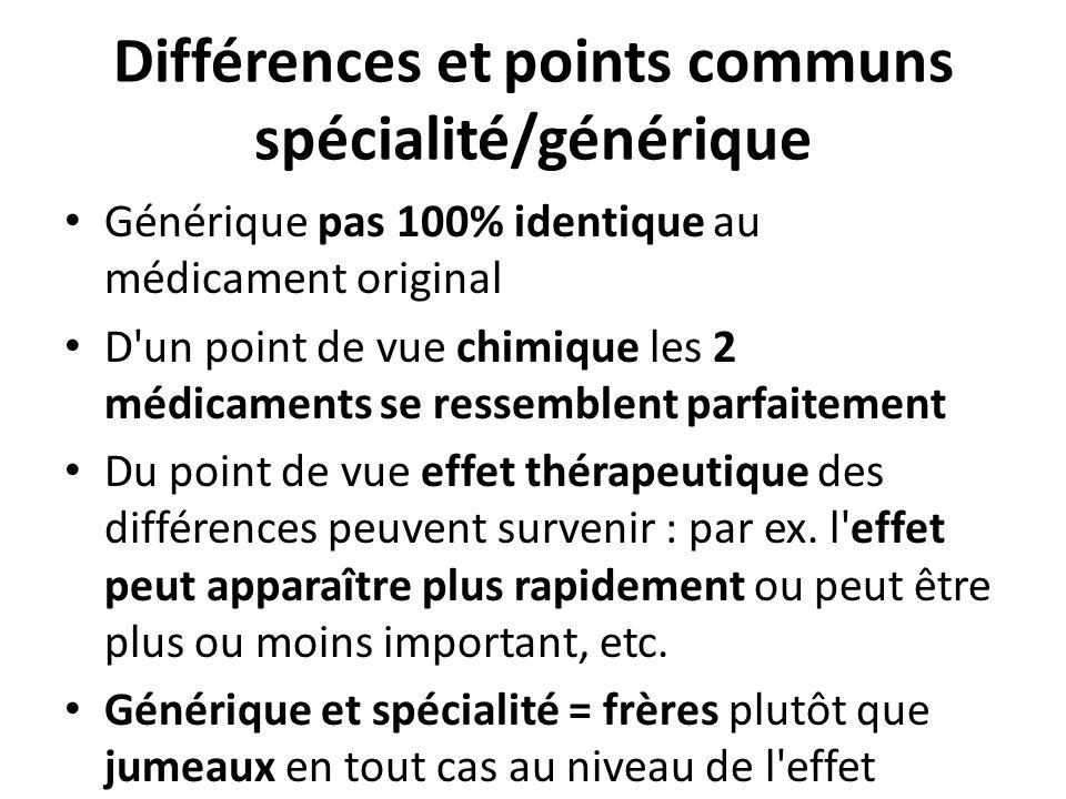 Différences et points communs spécialité/générique Générique pas 100% identique au médicament original D'un point de vue chimique les 2 médicaments se