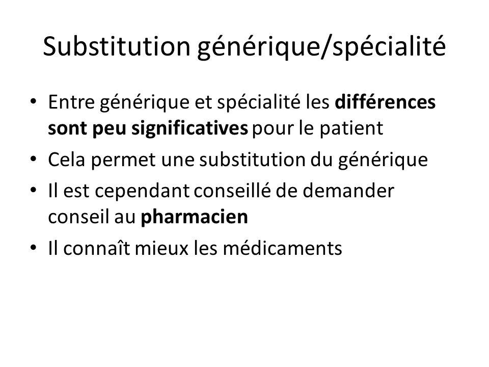 Substitution générique/spécialité Entre générique et spécialité les différences sont peu significatives pour le patient Cela permet une substitution d