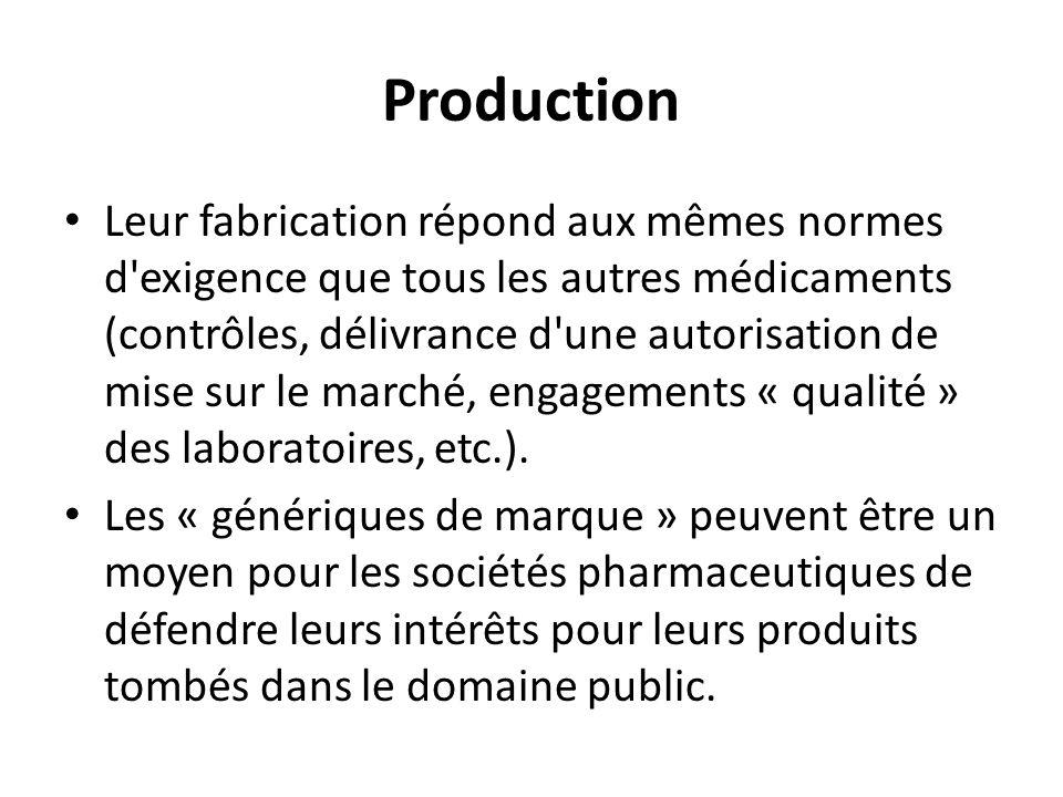Production Leur fabrication répond aux mêmes normes d'exigence que tous les autres médicaments (contrôles, délivrance d'une autorisation de mise sur l