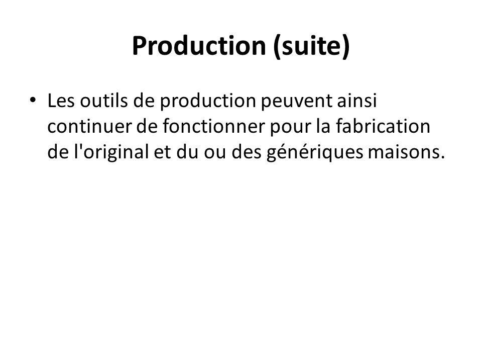 Production (suite) Les outils de production peuvent ainsi continuer de fonctionner pour la fabrication de l'original et du ou des génériques maisons.