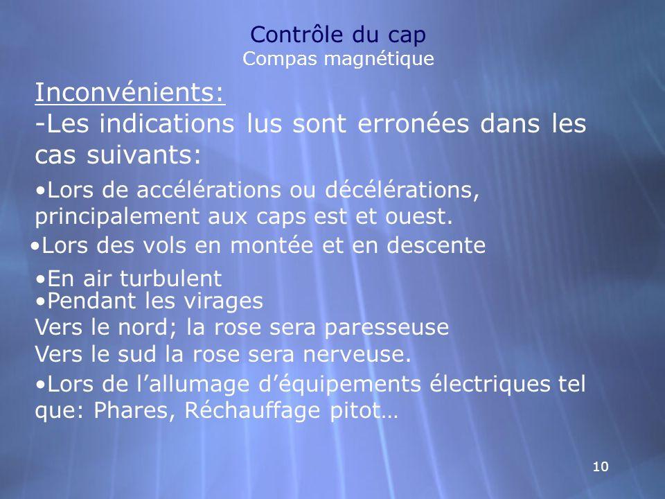 10 Contrôle du cap Compas magnétique Inconvénients: -Les indications lus sont erronées dans les cas suivants: Lors de accélérations ou décélérations,