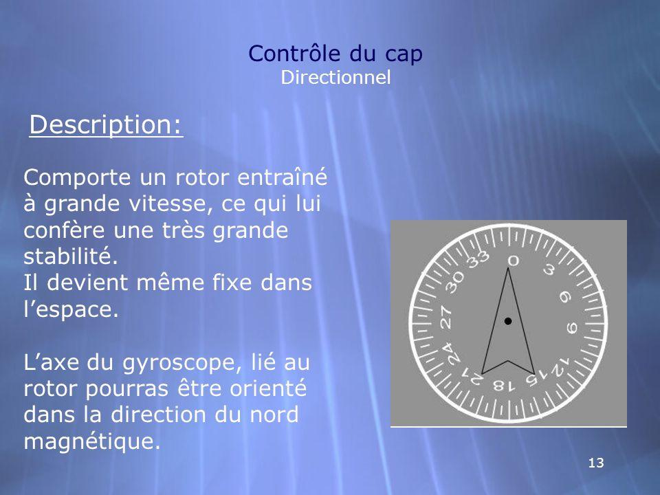 13 Contrôle du cap Directionnel Description: Comporte un rotor entraîné à grande vitesse, ce qui lui confère une très grande stabilité. Il devient mêm