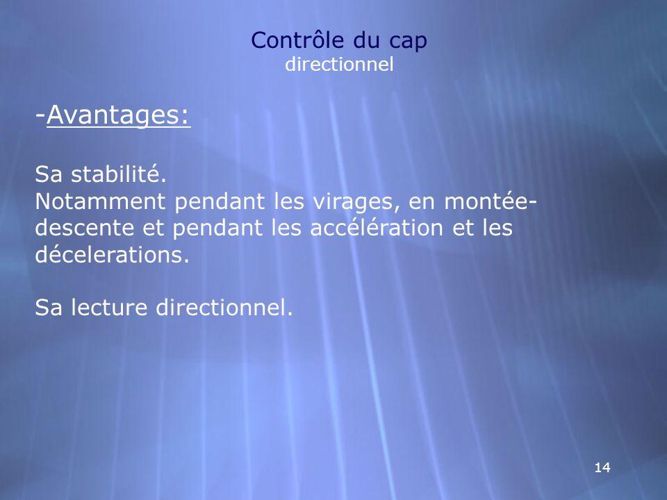 14 Contrôle du cap directionnel -Avantages: Sa stabilité. Notamment pendant les virages, en montée- descente et pendant les accélération et les décele
