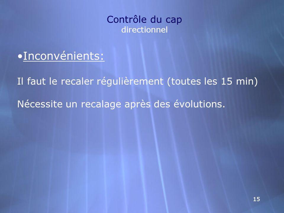 15 Contrôle du cap directionnel Inconvénients: Il faut le recaler régulièrement (toutes les 15 min) Nécessite un recalage après des évolutions.
