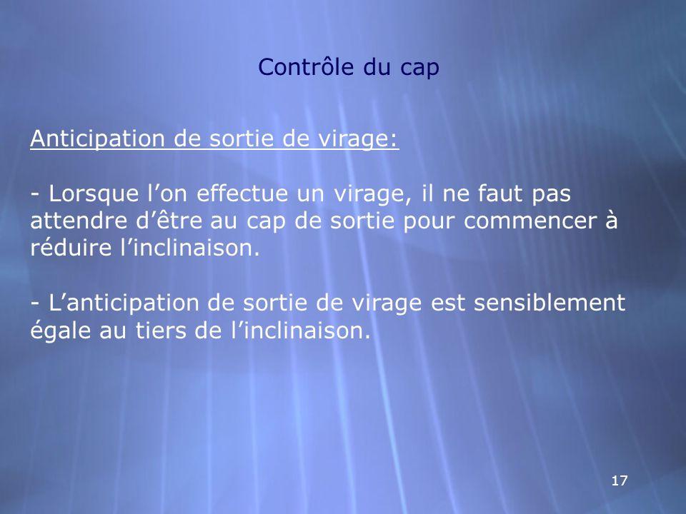 17 Contrôle du cap Anticipation de sortie de virage: - Lorsque lon effectue un virage, il ne faut pas attendre dêtre au cap de sortie pour commencer à