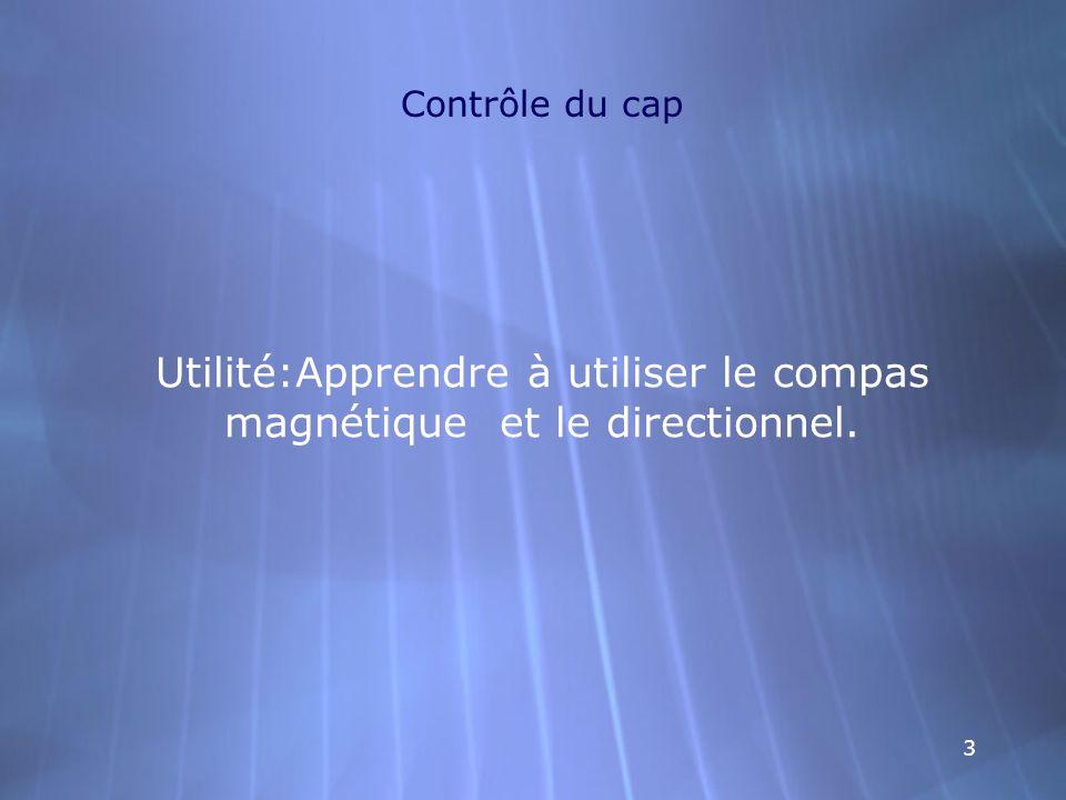 33 Contrôle du cap Utilité:Apprendre à utiliser le compas magnétique et le directionnel.