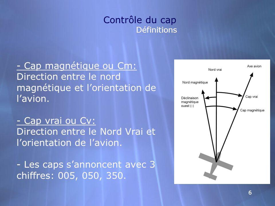 66 Contrôle du cap Définitions - Cap magnétique ou Cm: Direction entre le nord magnétique et lorientation de lavion. - Cap vrai ou Cv: Direction entre