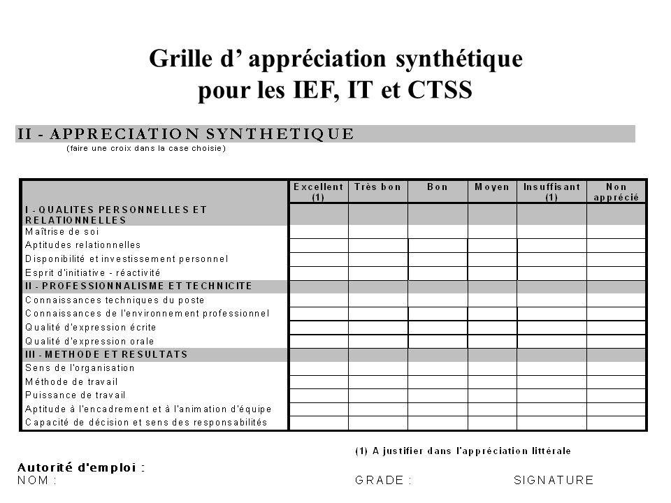 Grille d appréciation synthétique pour les IEF, IT et CTSS