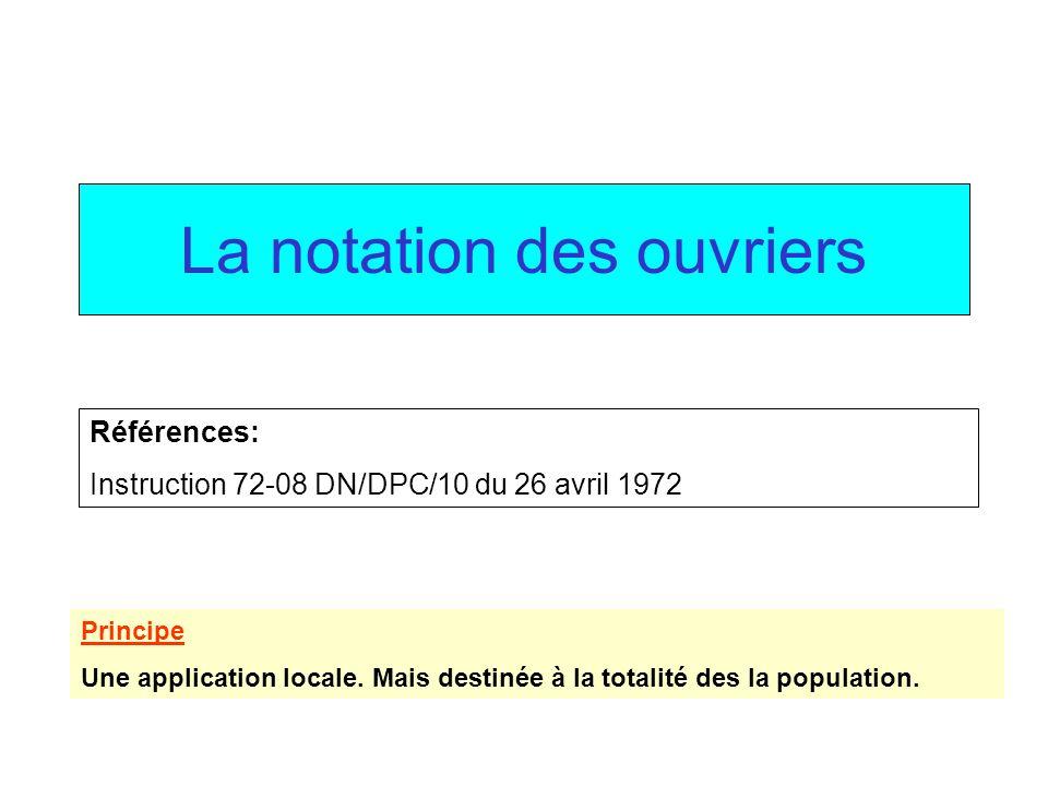 La notation des ouvriers Principe Une application locale. Mais destinée à la totalité des la population. Références: Instruction 72-08 DN/DPC/10 du 26