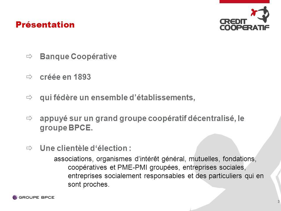 3 Banque Coopérative créée en 1893 qui fédère un ensemble détablissements, appuyé sur un grand groupe coopératif décentralisé, le groupe BPCE.