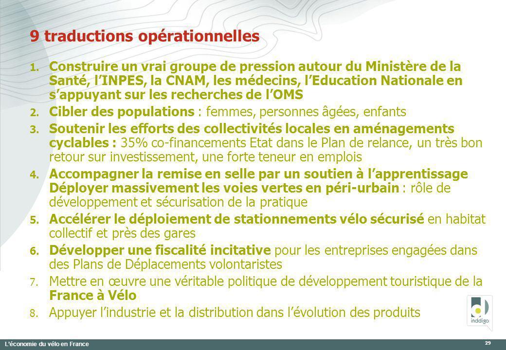 Léconomie du vélo en France 29 9 traductions opérationnelles 1. Construire un vrai groupe de pression autour du Ministère de la Santé, lINPES, la CNAM