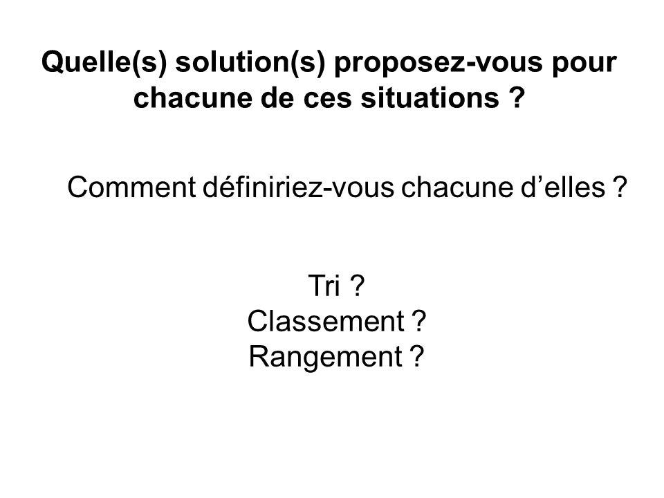Tri ? Classement ? Rangement ? Quelle(s) solution(s) proposez-vous pour chacune de ces situations ? Comment définiriez-vous chacune delles ?
