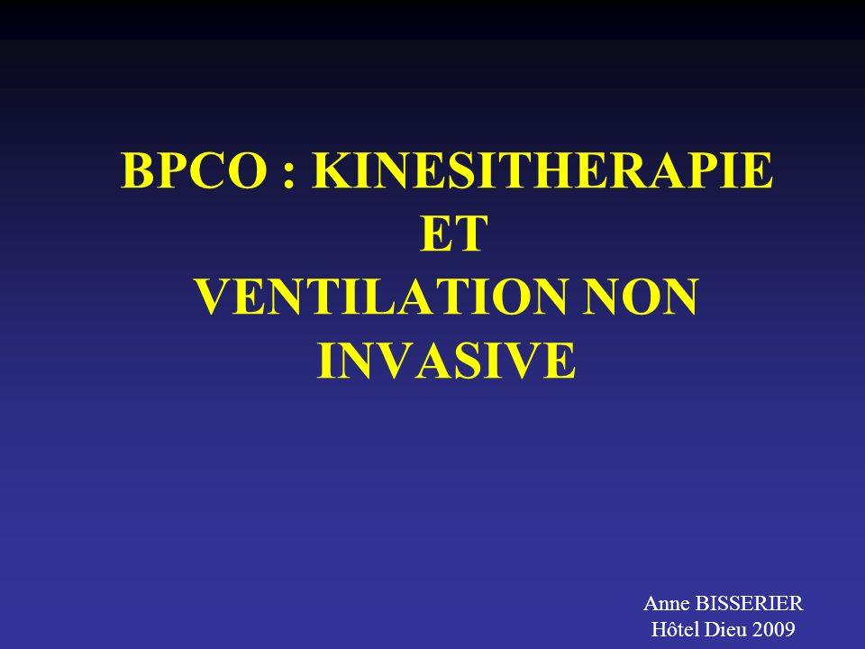 BPCO : KINESITHERAPIE ET VENTILATION NON INVASIVE Anne BISSERIER Hôtel Dieu 2009