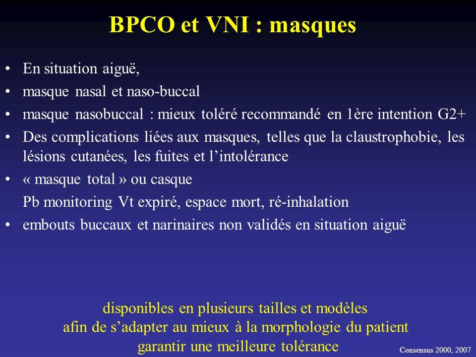 BPCO et VNI : masques En situation aiguë, masque nasal et naso-buccal masque nasobuccal : mieux toléré recommandé en 1ère intention G2+ Des complicati