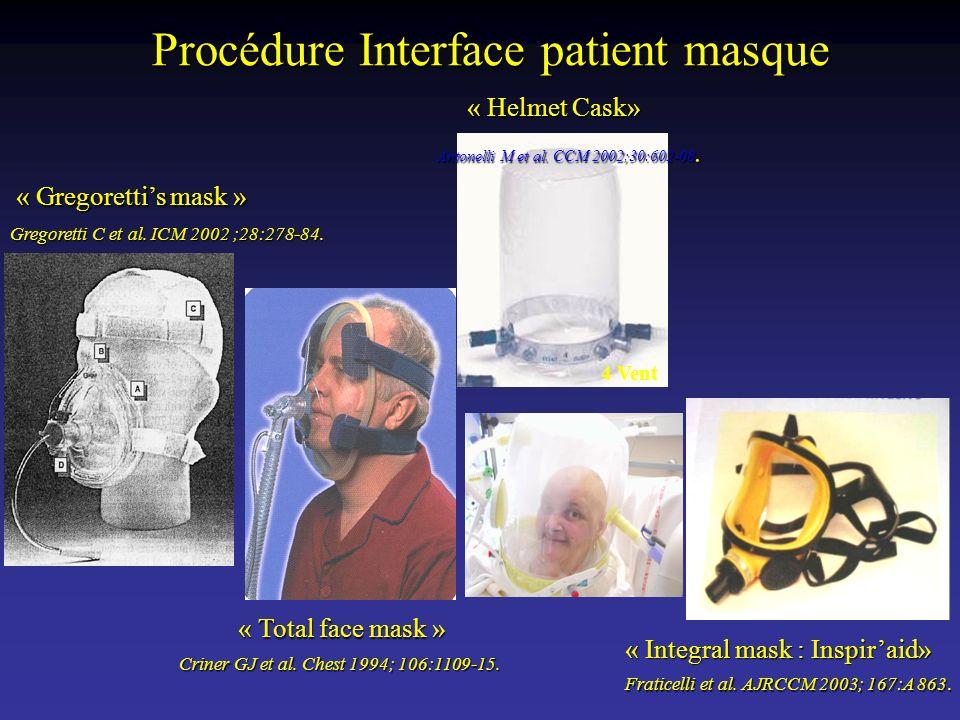 « Gregorettis mask » Gregoretti C et al. ICM 2002 ;28:278-84. « Total face mask » Criner GJ et al. Chest 1994; 106:1109-15. 4 Vent « Integral mask : I