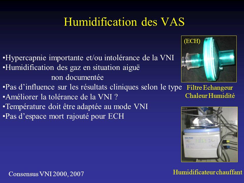 Humidification des VAS Humidificateur chauffant Filtre Echangeur Chaleur Humidité (ECH) Hypercapnie importante et/ou intolérance de la VNI Humidificat