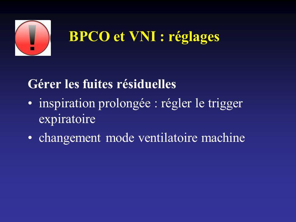 BPCO et VNI : réglages Gérer les fuites résiduelles inspiration prolongée : régler le trigger expiratoire changement mode ventilatoire machine