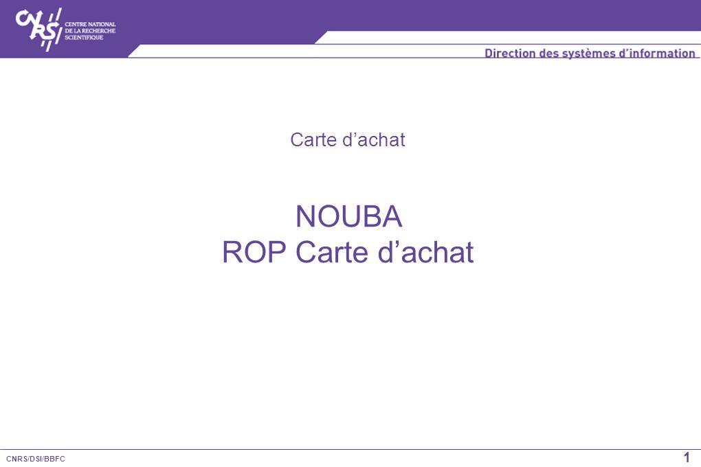 CNRS/DSI/BBFC 1 Carte dachat NOUBA ROP Carte dachat