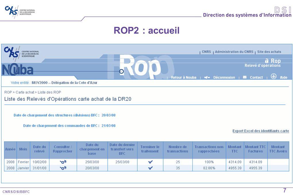 CNRS/DSI/BBFC 8 ROP2 : Rapprochement pour information