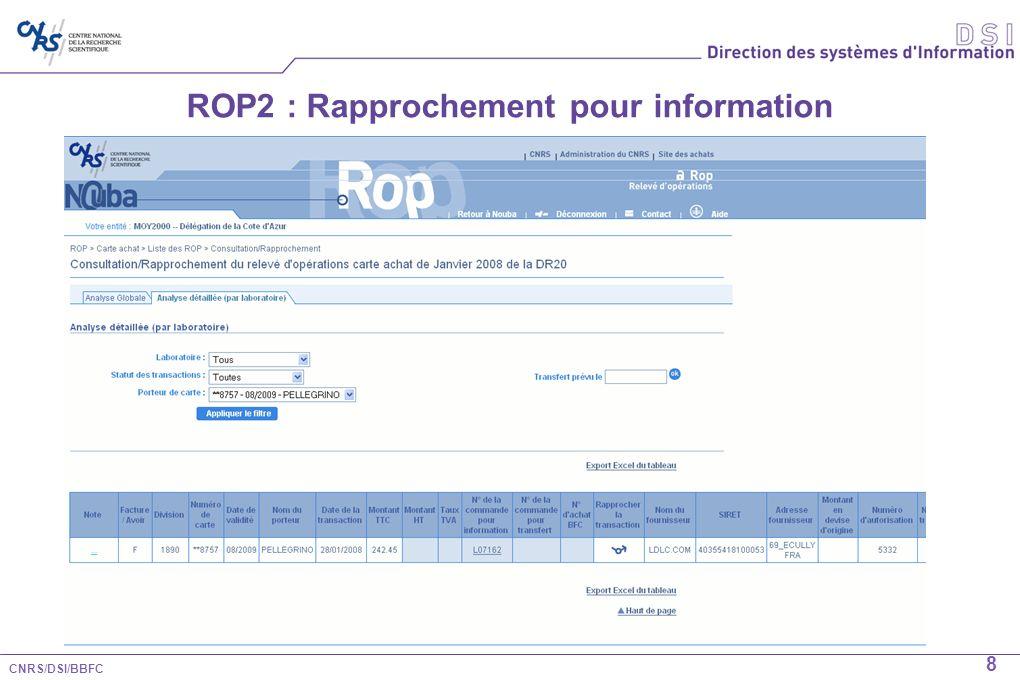 CNRS/DSI/BBFC 9 ROP2 : Rapprochement pour transfert