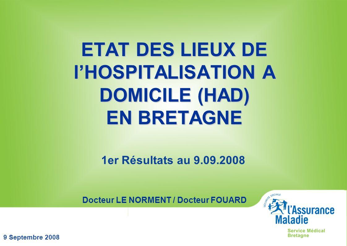 9 Septembre 2008 ETAT DES LIEUX DE lHOSPITALISATION A DOMICILE (HAD) EN BRETAGNE 1er Résultats au 9.09.2008 Docteur LE NORMENT / Docteur FOUARD