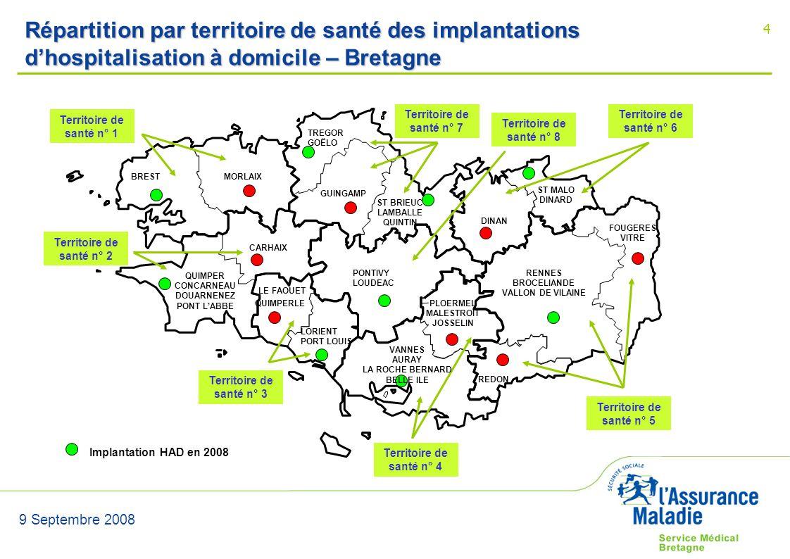 9 Septembre 2008 4 Répartition par territoire de santé des implantations dhospitalisation à domicile – Bretagne BRESTMORLAIX CARHAIX QUIMPERLE LE FAOU
