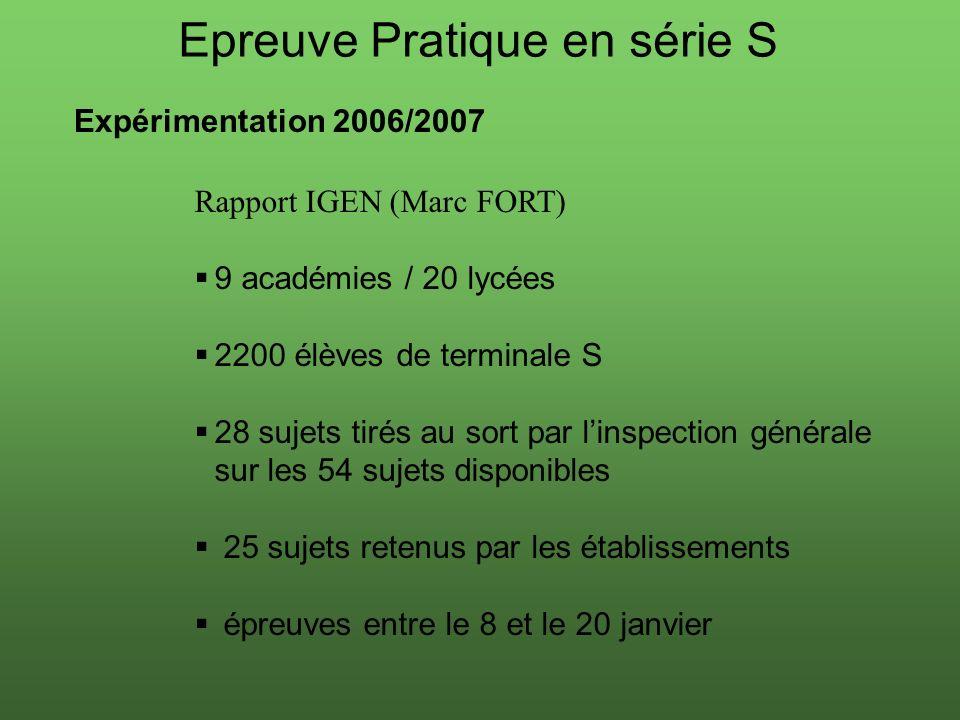 Epreuve Pratique en série S Expérimentation 2006/2007 Rapport IGEN (Marc FORT) 9 académies / 20 lycées 2200 élèves de terminale S 28 sujets tirés au s