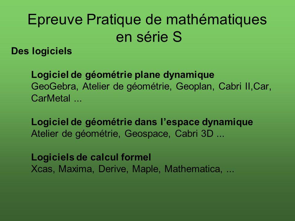 Des logiciels Logiciel de géométrie plane dynamique GeoGebra, Atelier de géométrie, Geoplan, Cabri II,Car, CarMetal...