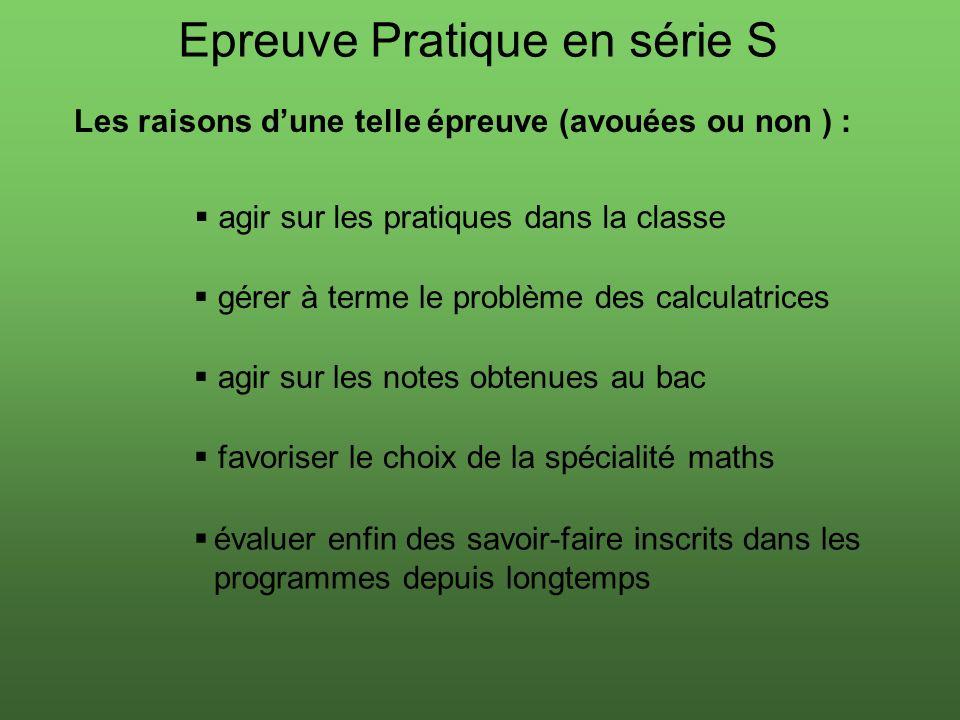 Epreuve Pratique en série S Les raisons dune telle épreuve (avouées ou non ) : agir sur les pratiques dans la classe gérer à terme le problème des cal