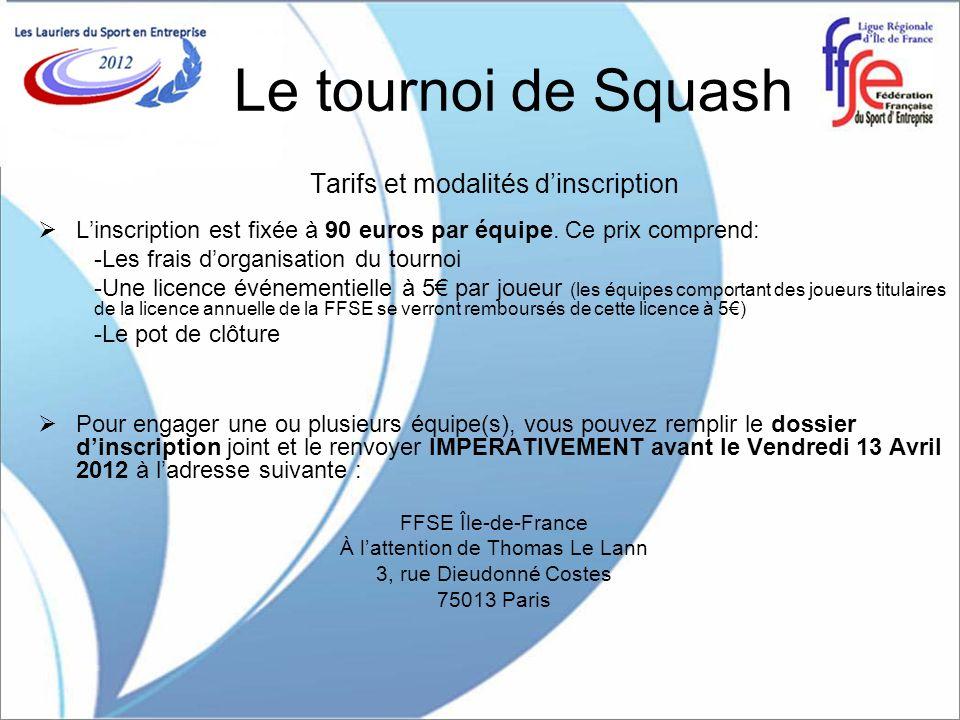 Le tournoi de Squash Tarifs et modalités dinscription Linscription est fixée à 90 euros par équipe. Ce prix comprend: -Les frais dorganisation du tour