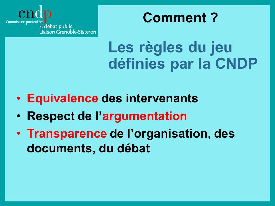 Les règles du jeu définies par la CNDP Equivalence des intervenants Respect de largumentation Transparence de lorganisation, des documents, du débat Comment