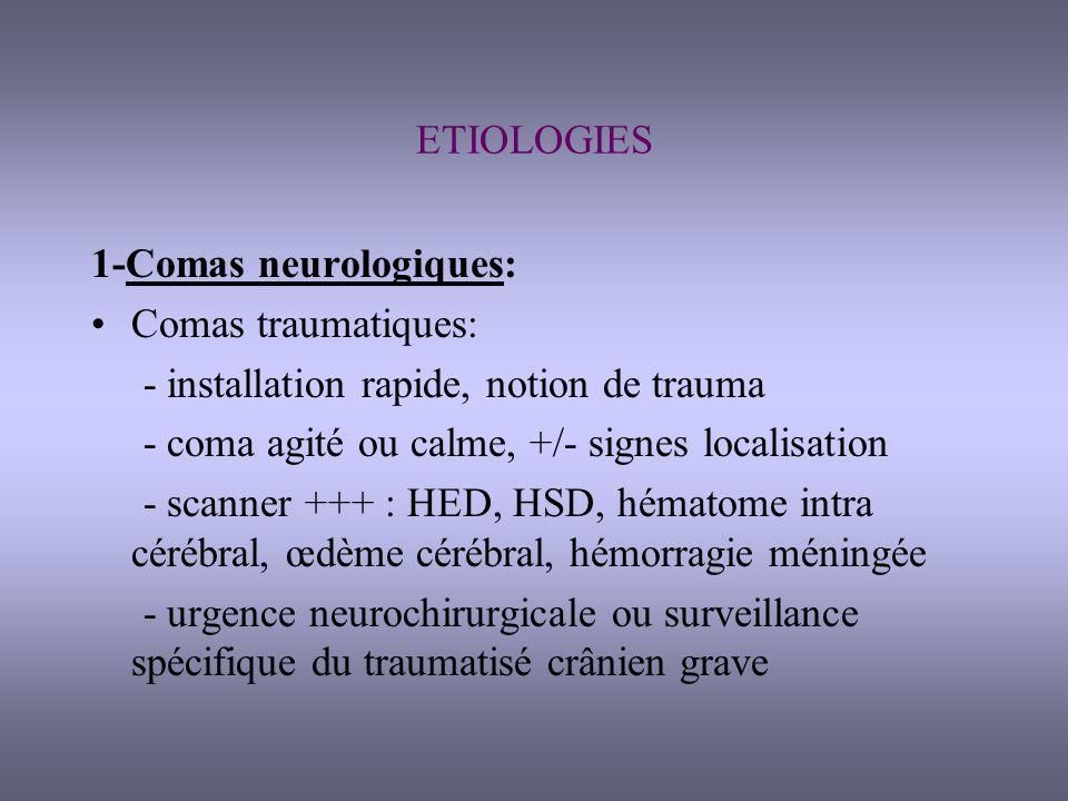 1- Comas neurologiques (suite): Coma avec signes neurologiques focaux: - début brutal: AVC ischémique ou hémorragique, scanner, surveillance le plus souvent - début progressif: tumeur cérébrale, hydrocéphalie, HSD chronique, urgence neurochirurgicale +/- différée Coma avec signes méningés: - fébrile: méningite, méningo-encéphalite scanner puis PL, ATB - non fébrile: hémorragie méningée scanner, artério-embolisation, +/- neurochir Coma post-critique ou EME