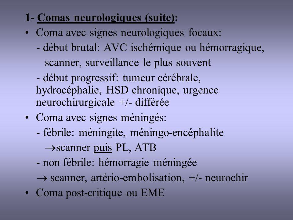 2- Comas métaboliques: Hypoglycémie +++ Diabétique traité: hypoglycémie, acidocétose, coma hyperosmolaire Troubles hydroélectrolytiques graves: hyponatrémie, déshydratation Encéphalopathies métaboliques: insuffisance rénale, hépatique, respiratoire Hypothermie Endocrinopathies: hypothyroïdie, insuffisance surrénalienne