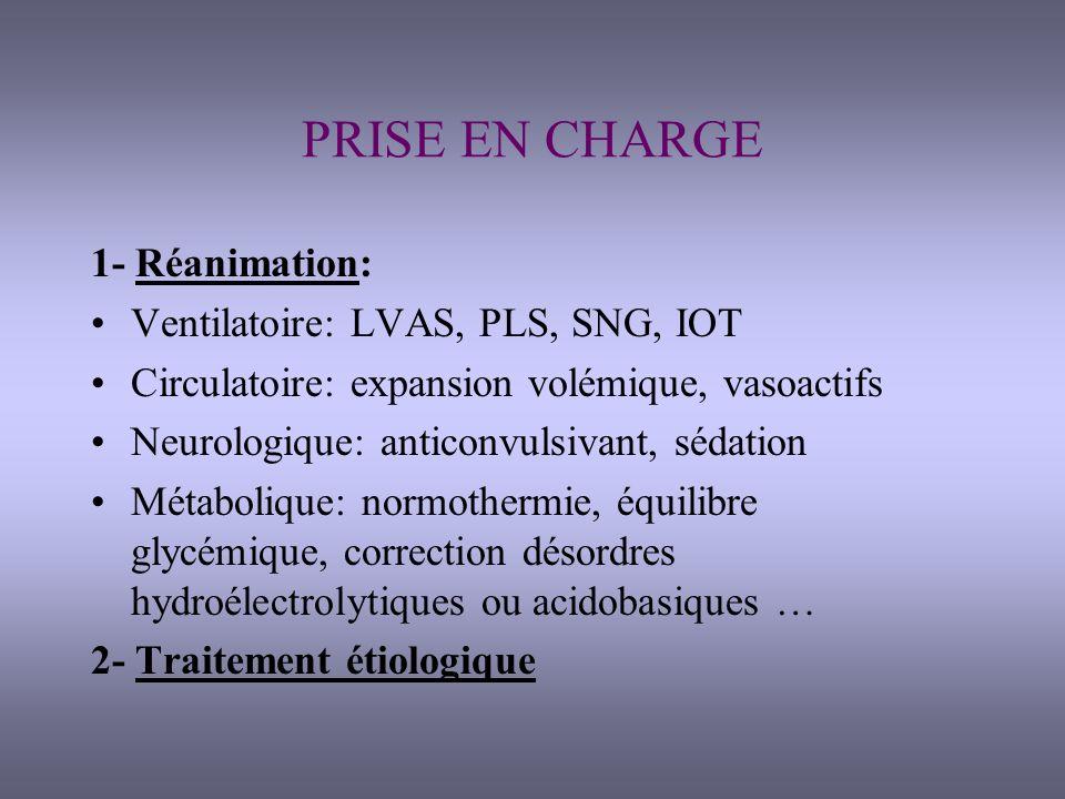 3- Surveillance en réanimation: Objectif: éviter aggravation des lésions Hémodynamique: scope, PA invasive, diurèse horaire, PVC Respiratoire: SpO2,capno, paramètres du respi Neurologique +++: conscience (Glasgow), pupilles, scores danalgésie-sédation Elimination: diurèse, transit Bilan entrées-sorties Surveillance état cutané (escarres) Infectieux Paraclinique: bio+radio pulm/j, TDM, bactério