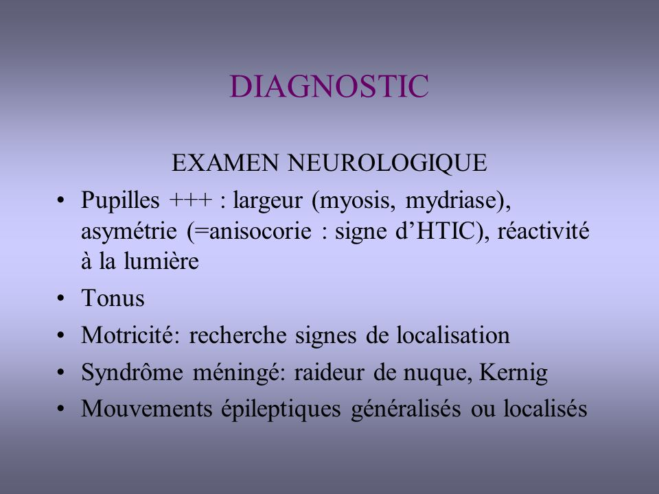DIAGNOSTIC DIFFERENTIEL Coma psychogène ou simulation (examen discordant) Locked-in Syndrome: réponse motrice impossible, mouvements oculaires possibles, conscience normale Hypersomnies, catalepsie